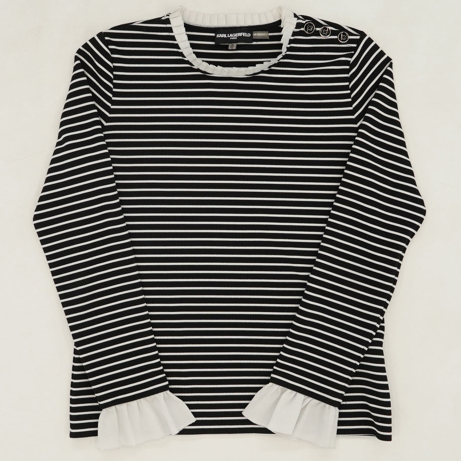 Striped Ruffle Sleeve Top Size XS