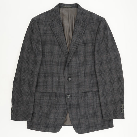 Charcoal and Red Plaid Wool Sport Coat Size 40R