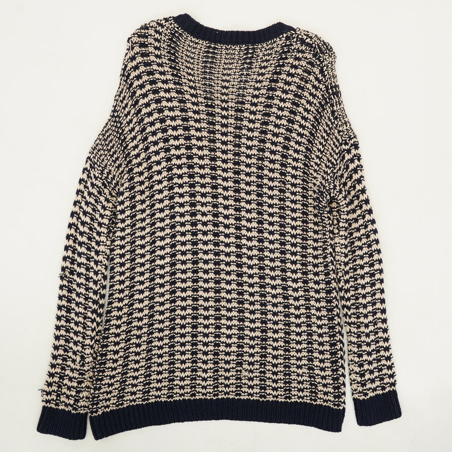 Mercerized Texture Knit Sweater Size M