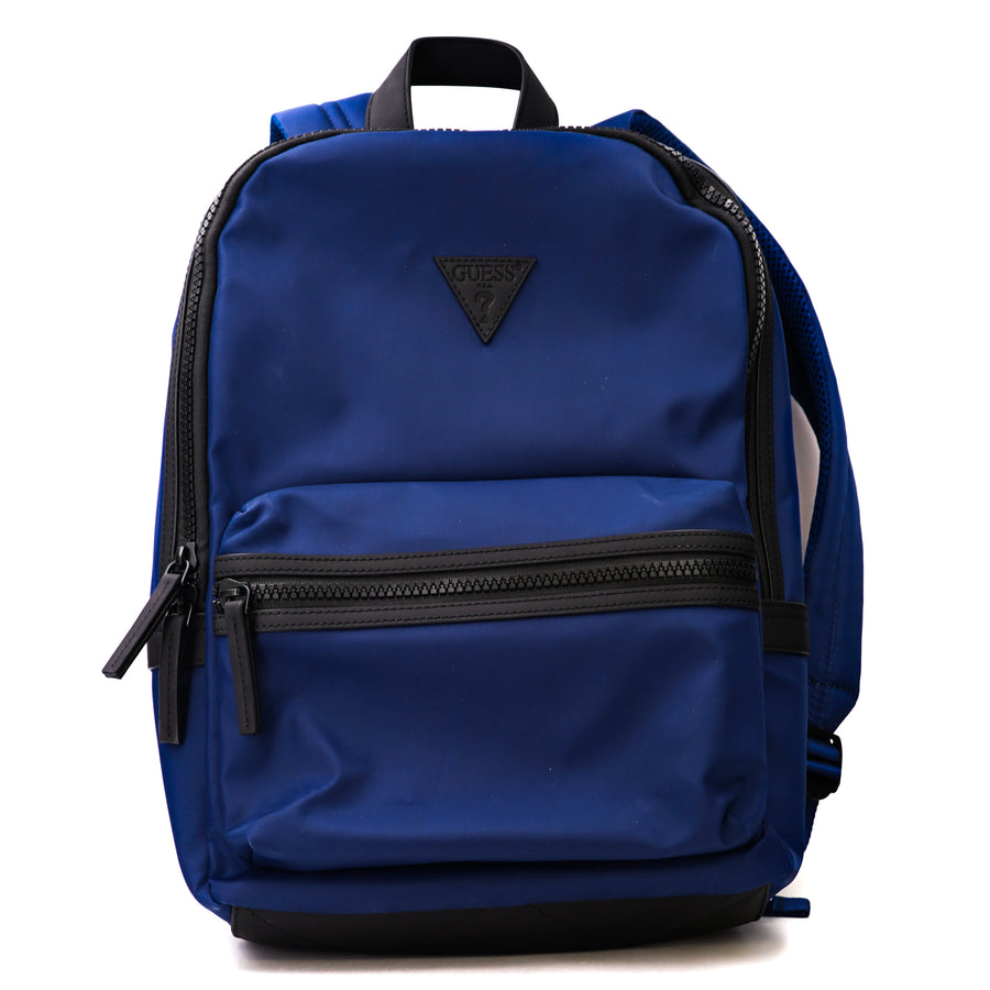 Pleather Trimmed Navy Backpack