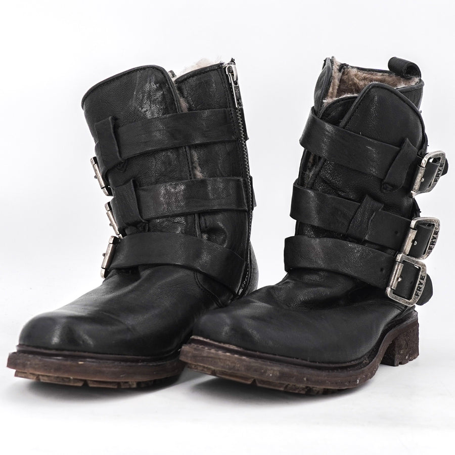 """Valerie"" Shearling Lined Strappy Boots Size 7"