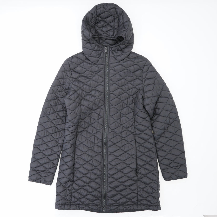 Black Mid-Length Hooded Coat Size M