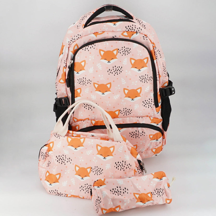 Pink Fox School Backpack 3 Piece Set For Girls W/Lunch Box and Pencil Case