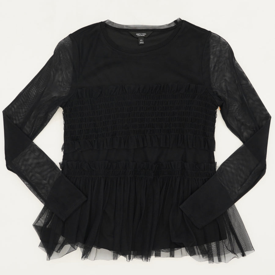 Black Lace Sleeve Top Size XS