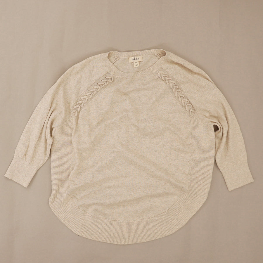 Beige 3/4 Sleeve T-Shirt Top Size XS