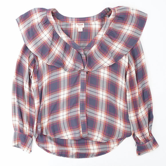 Plaid Ruffle V-Neck Button Down Shirt Size S