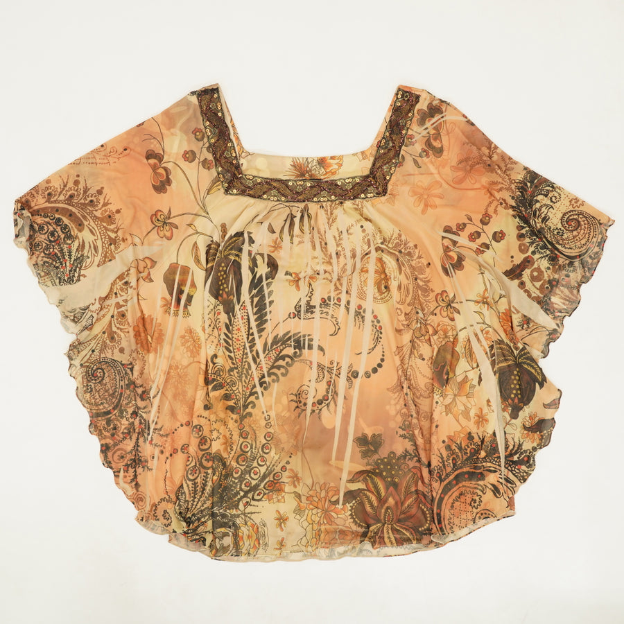 Tan Floral Square Neck Blouse - Size 1X/2X