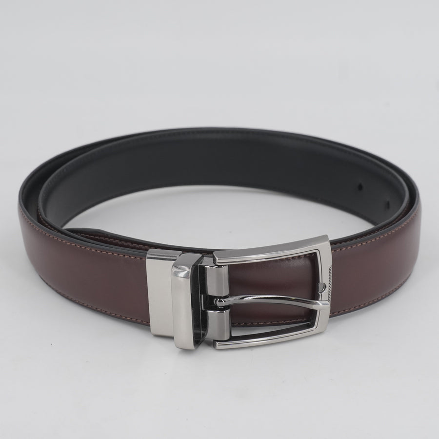 Faux Leather Mahogny And Black Reversible Belt
