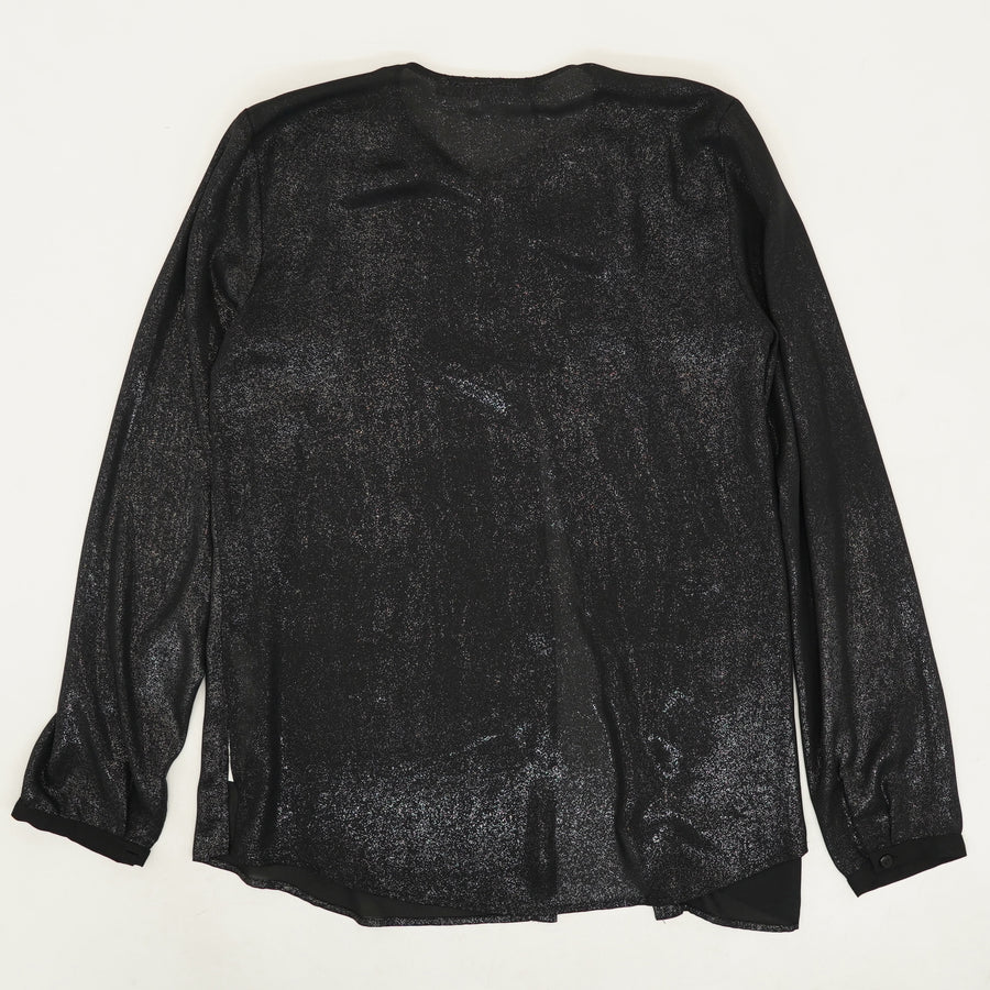 Black Sparkle Button Down Blouse - Size M