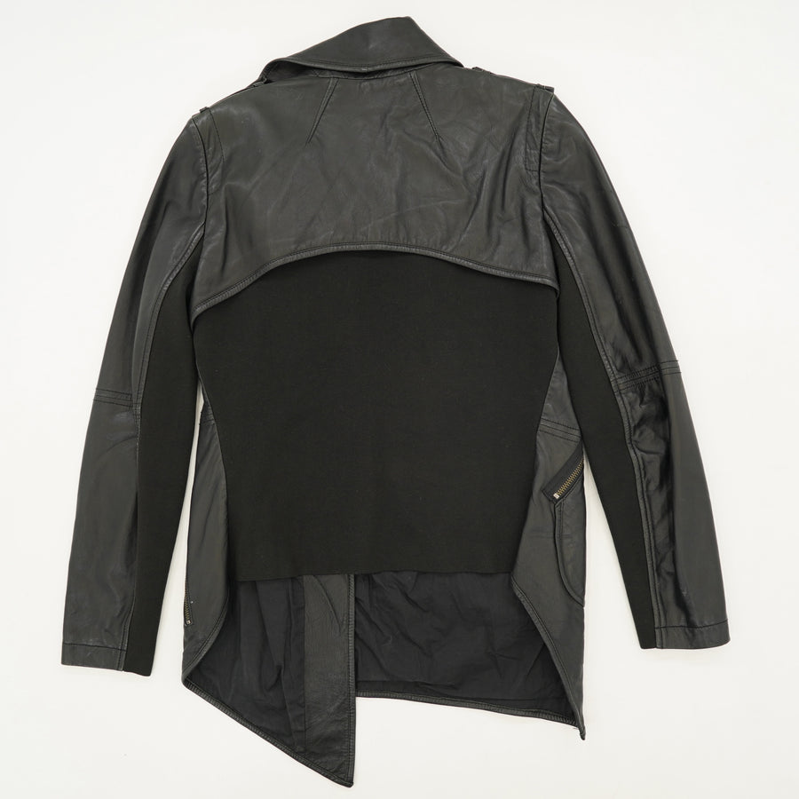 Leather Zip-Up Jacket Size 8