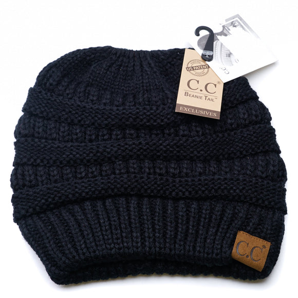 Solid Classic Messy Bun Beanie Size OS
