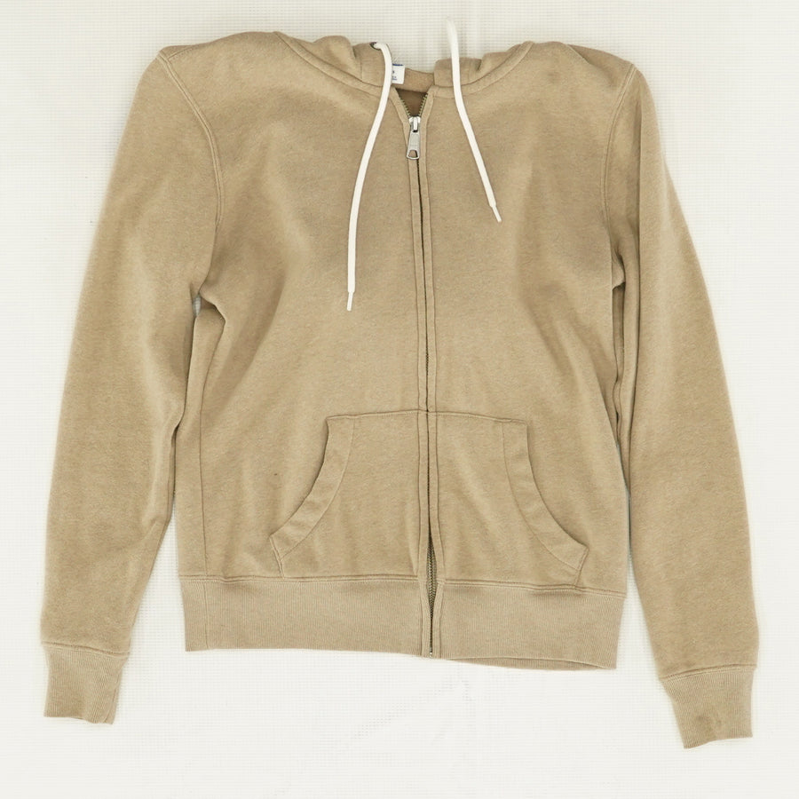 Taupe Relaxed Fit Full Zip Hoodie - Size XS