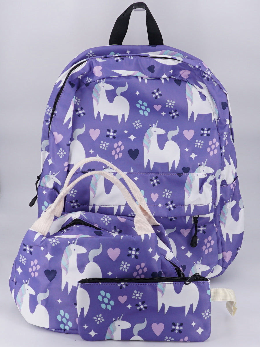 Unicorn School 3 Piece Backpack Set W/Lunchbag & Pencil Case