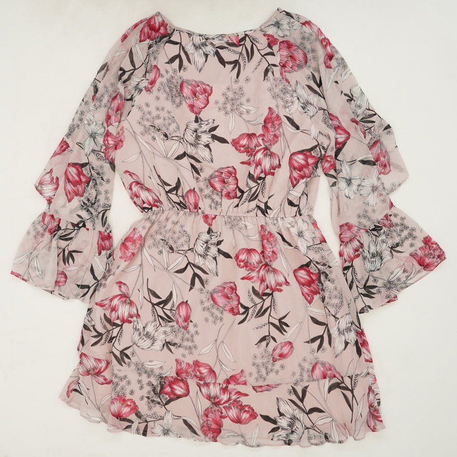 Rosea Floral Chiffon Bell Sleeve Dress Size L