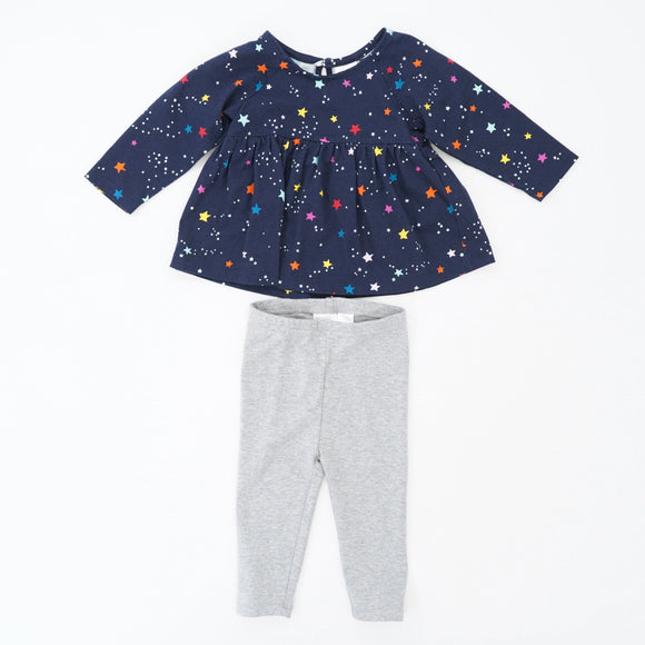 Navy Star 2 Piece Set Size 6-12M
