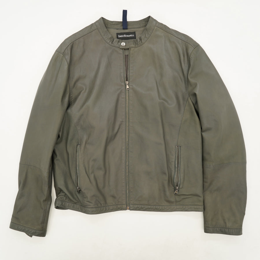 Green Leather Jacket Size 54