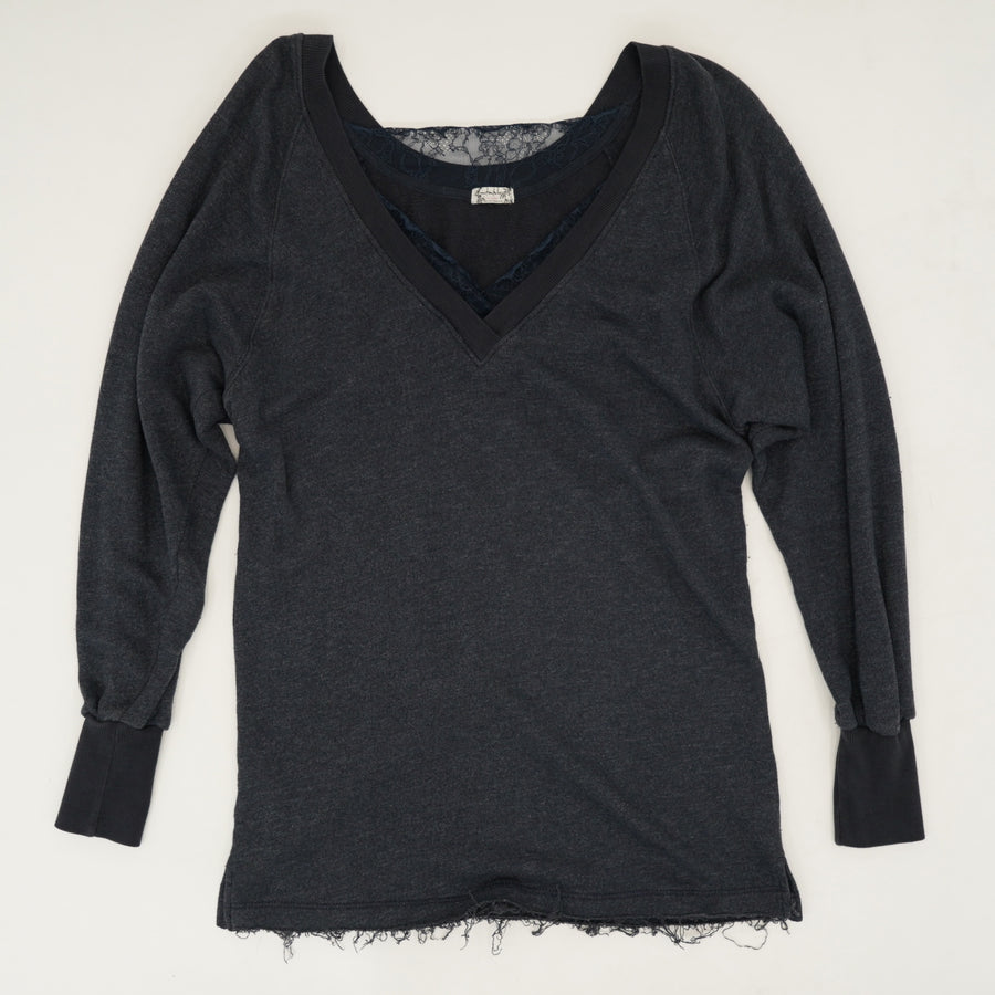 Lace Detailed V Neck Sweater Size S