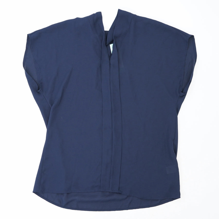 Carragan Placket Detail Blouse Navy Size S
