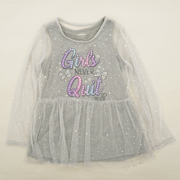 "Gray Twill ""Girls Never Quit"" Jojo Siwa Graphic Blouse Size L"
