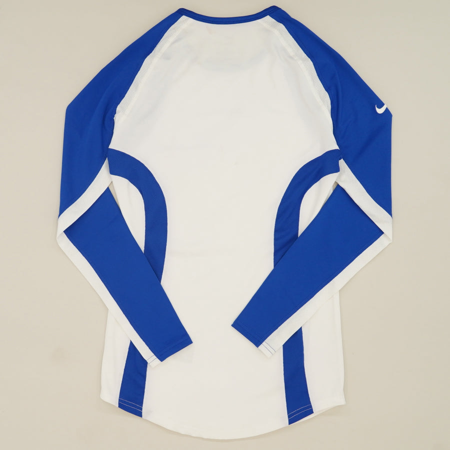 White and Blue Dri Fit Long Sleeve Size S