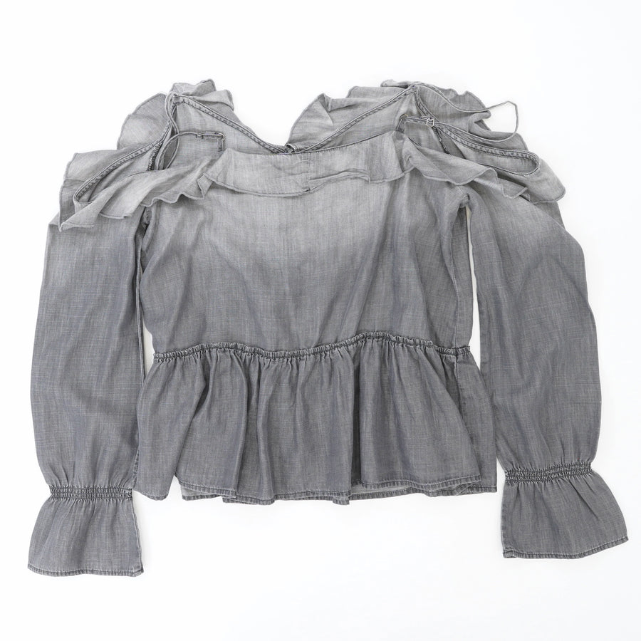Gray Ruffle Trim Cold Shoulder Top Size S