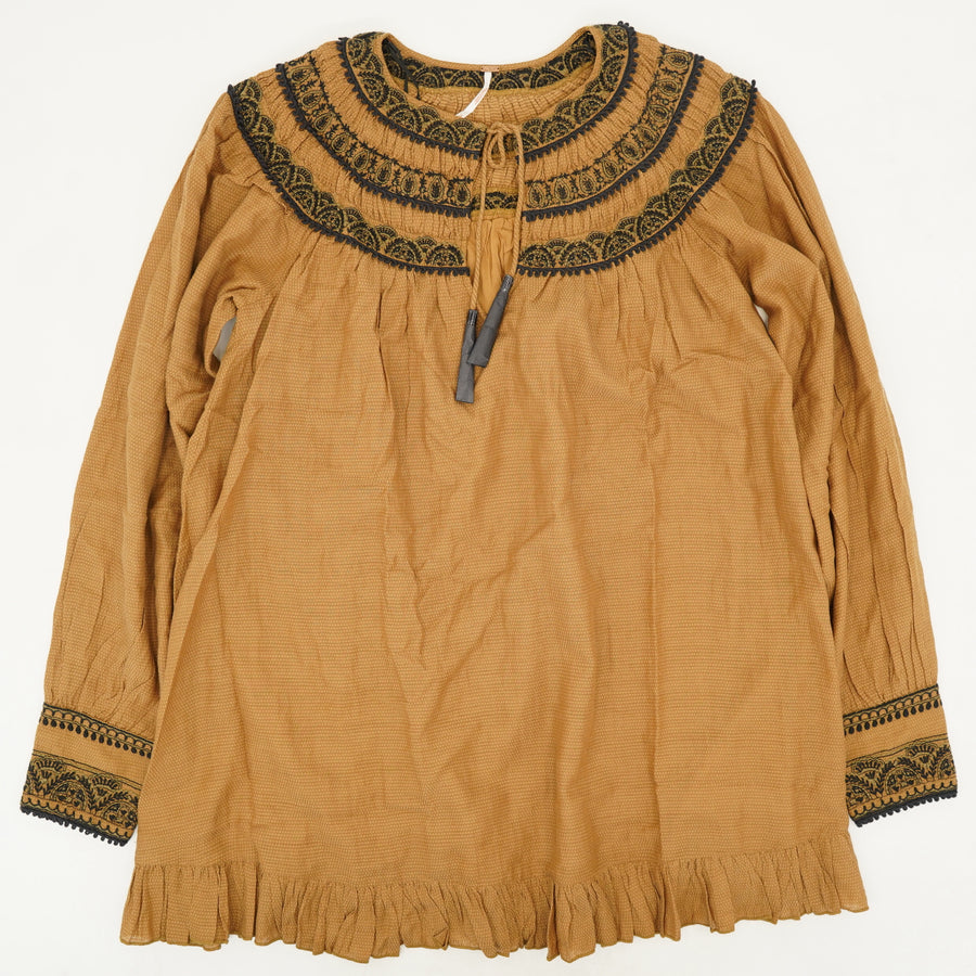 Embroidered Open-Front Peasant Blouse - Size S