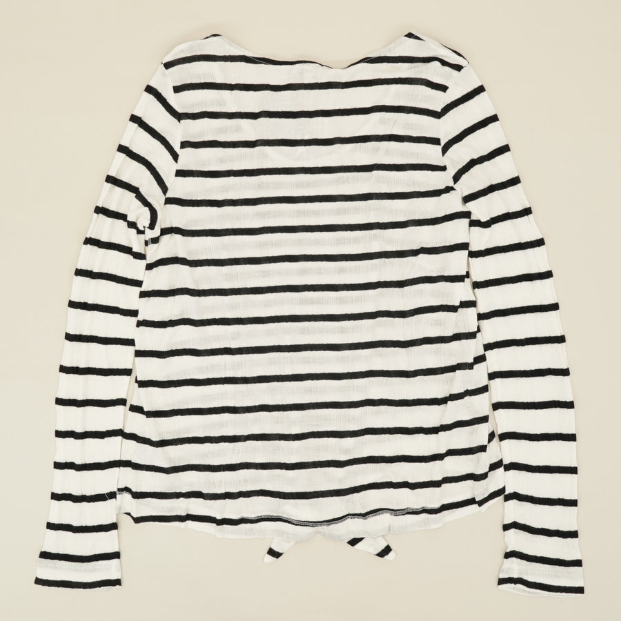 Tie-Front Striped Long Sleeve Size XL