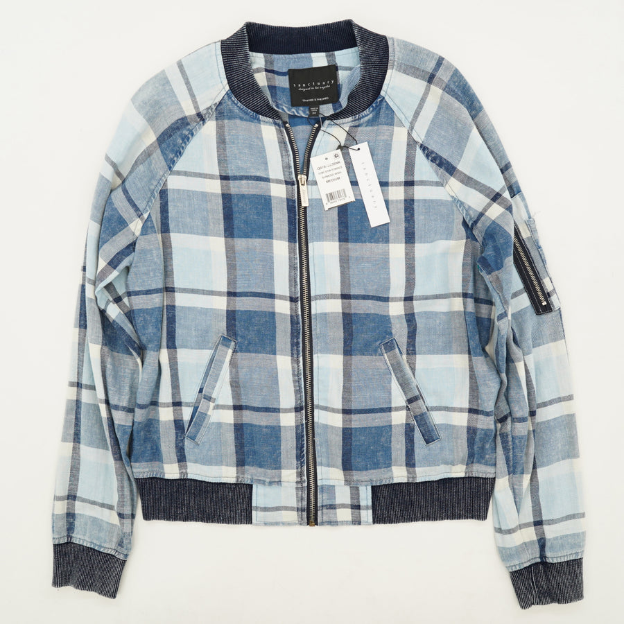 Blue Plaid Flannel Zip-Up Jacket - Size M