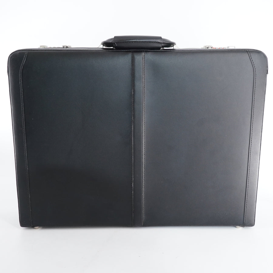 Expandable Leather Attache Briefcase Dual Combination Locks