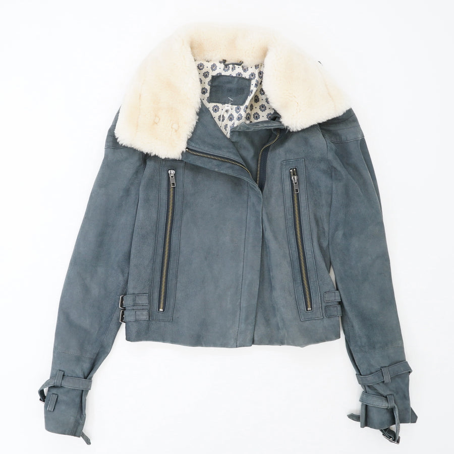 Faux Fur Collar Leather Moto Jacket Size 6