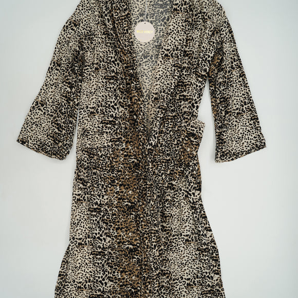 Cheetah Print Long Robe with Front Pockets Size S