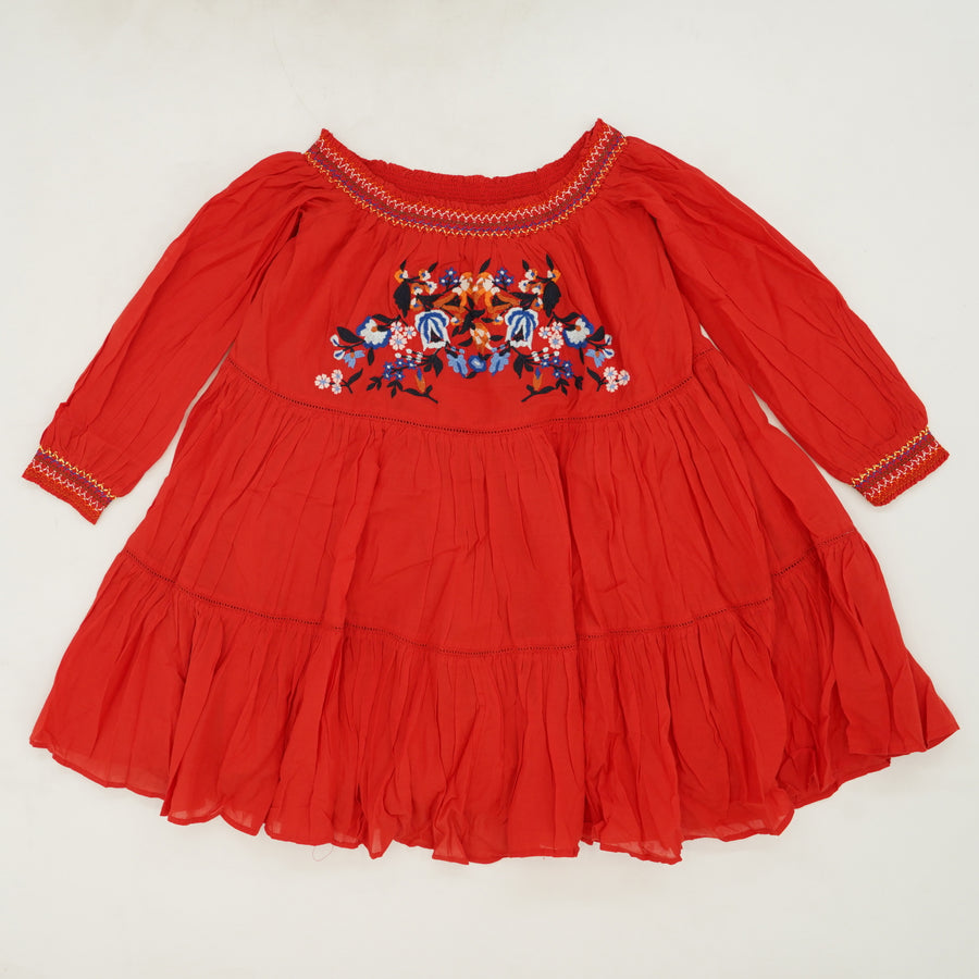 Red Embroidered Off The Shoulder Tunic Size XS