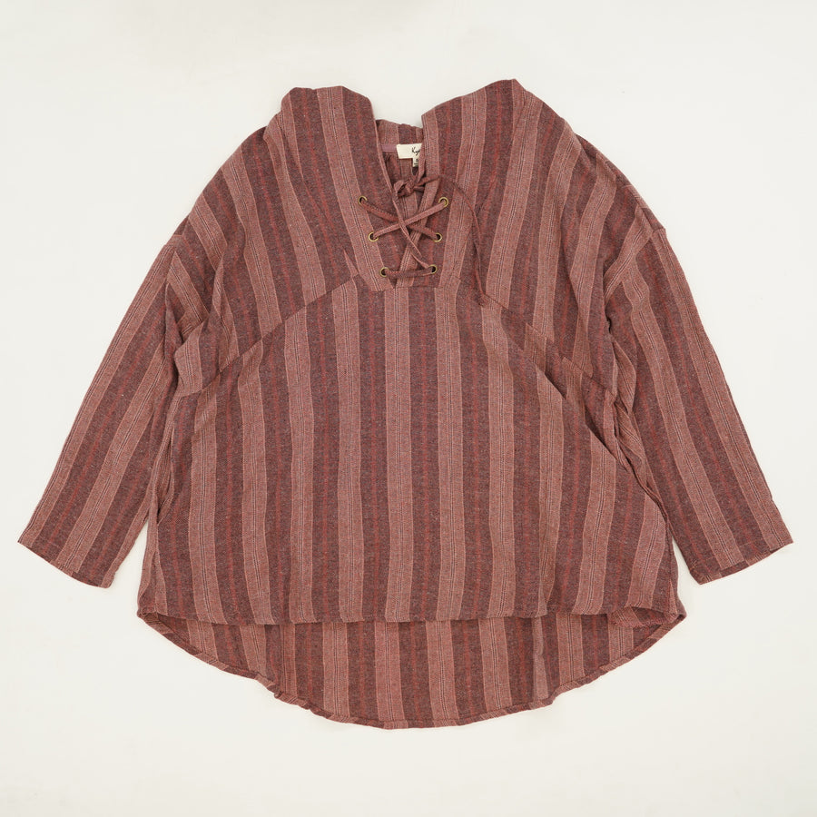Striped Hooded Tunic Pullover Size S