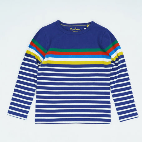 New Gap Kids Boys Crazy Striped Blue Gray Red Crew Long Sleeve Sweater 12 14 16