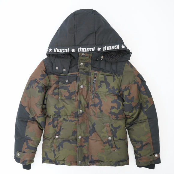 Camo Jacket With Lined Hood Size 10/12