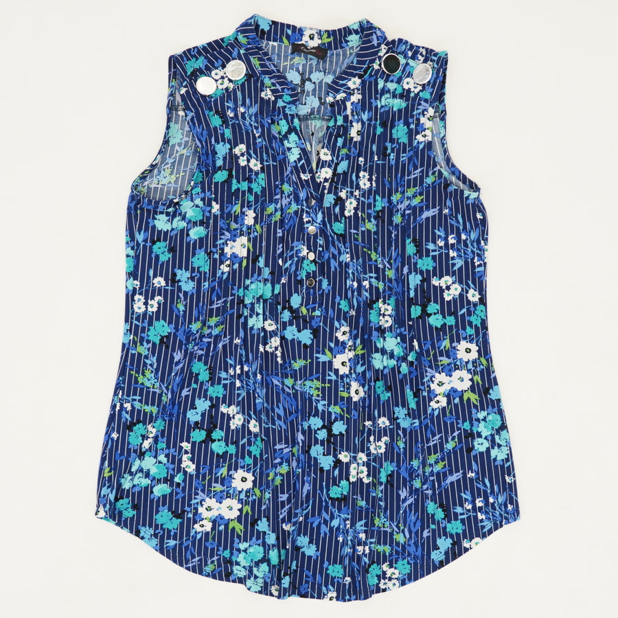 Blue Floral Sleeveless Blouse - Size S