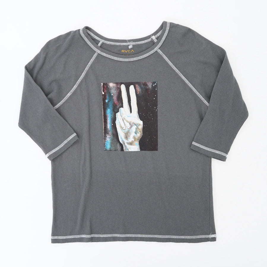 Gray Universal Peace Graphic Blouse Size S