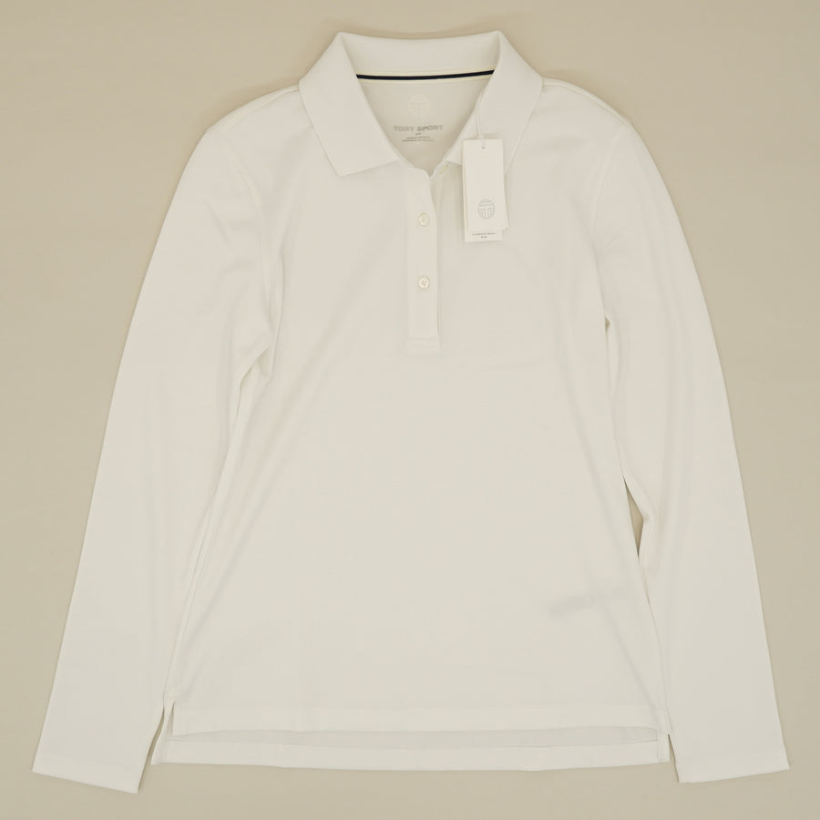White Long Sleeve Polo Size S