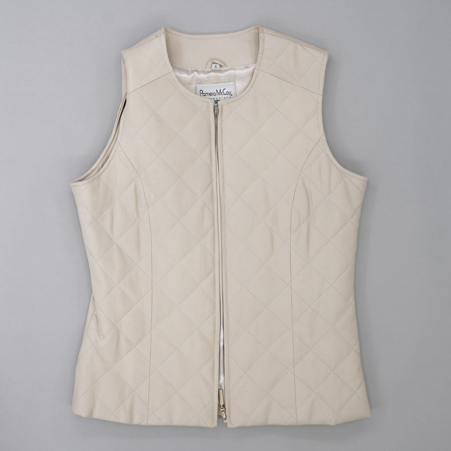 Quilted Leather Zip Front Vest Size S
