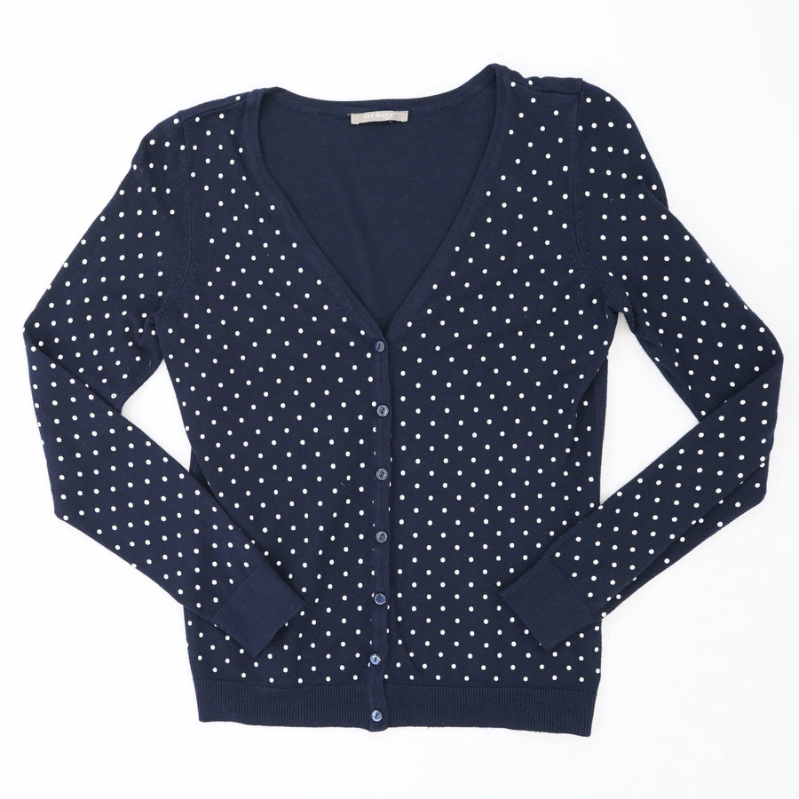 Navy Polka Dot V Neck Cardigan Size S/M