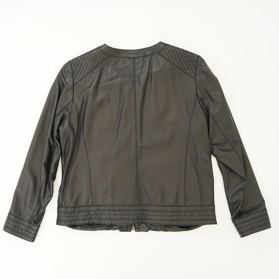 Collarless Leather Jacket Size L