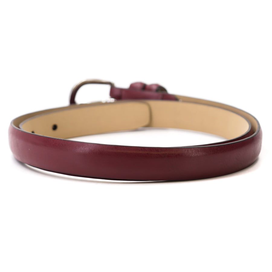 Thin Burgundy Faux Leather Belt - Size XS/S