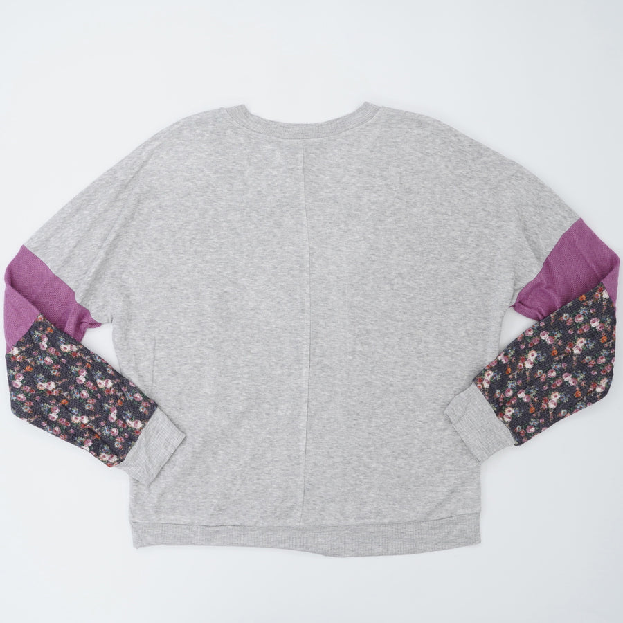 Gray Top with Floral Sleeves - Size L