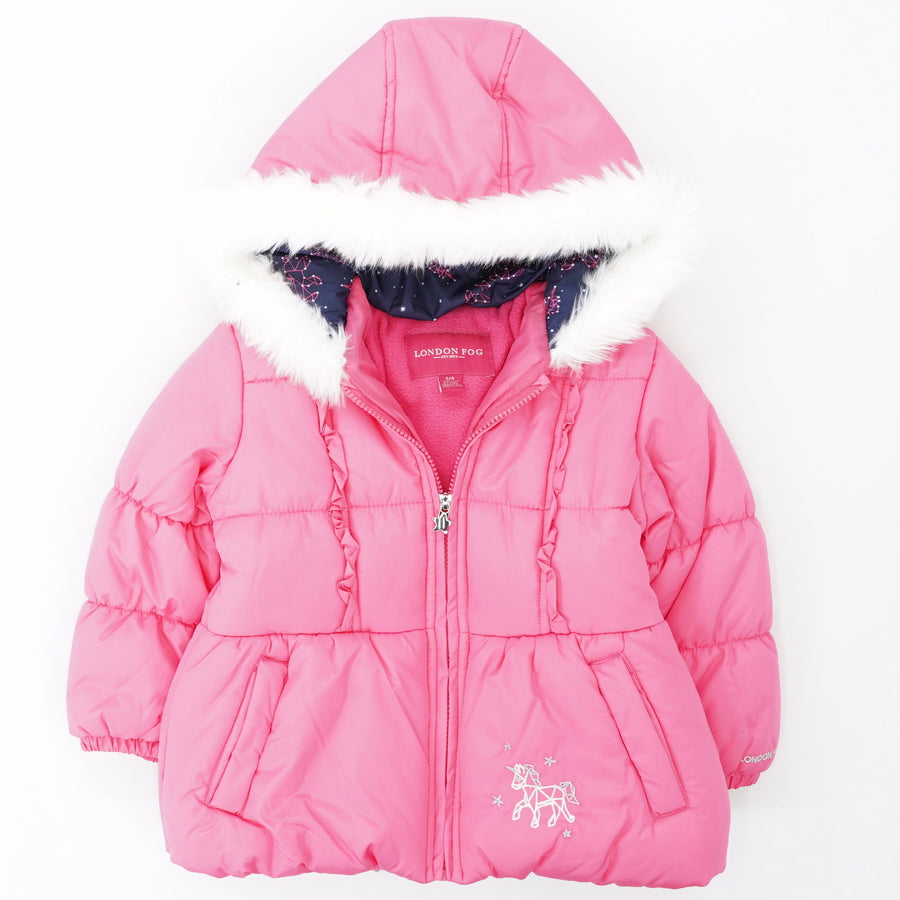 Full-Zip Puffer Jacket with Faux Fur Hood Size S