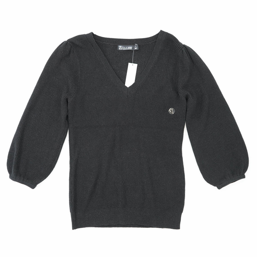 Black Solid V-Neck Sweater Size S