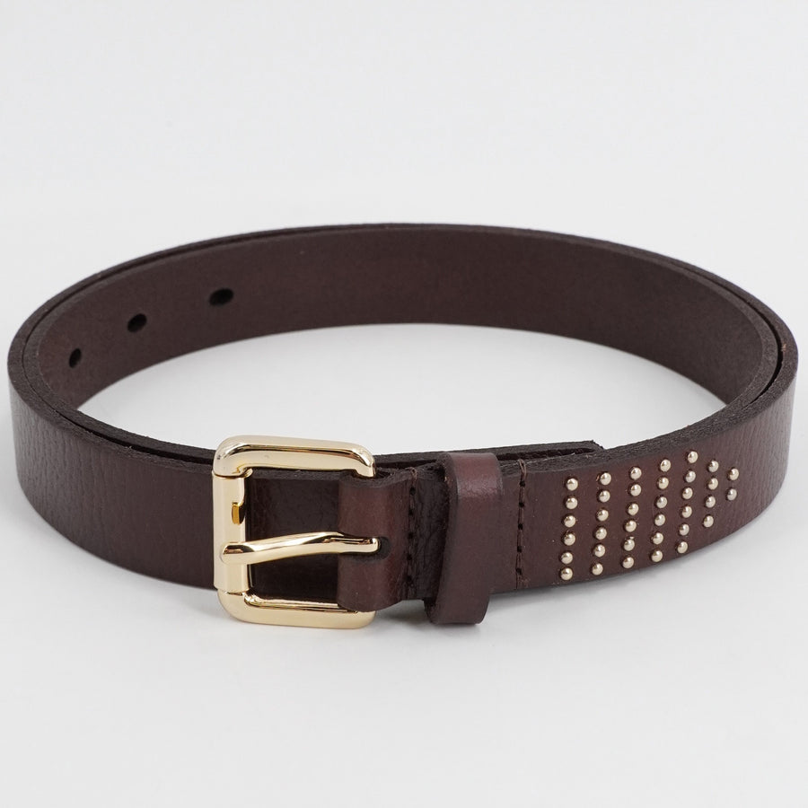 Brown-Studded Leather Belt Size 39