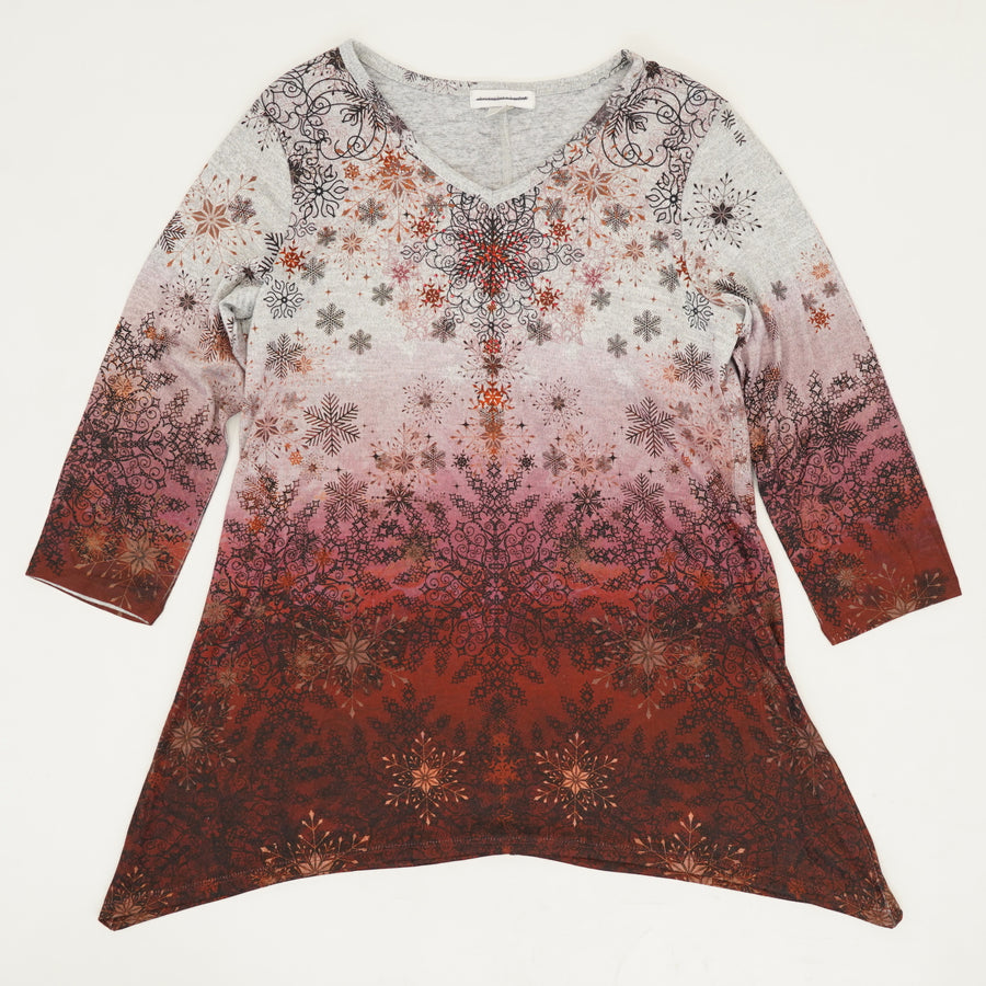 Ombre Blouse with Snowflake Detail Size M