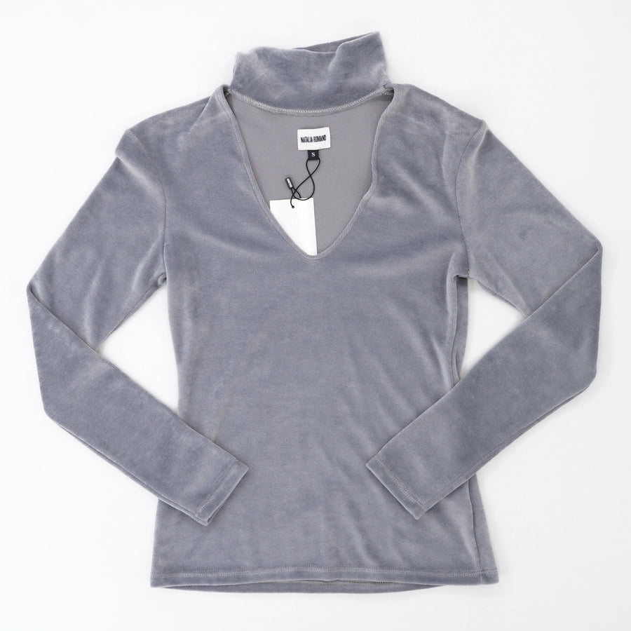 Gray V-Neck Blouse With Snap Button Collar Size S