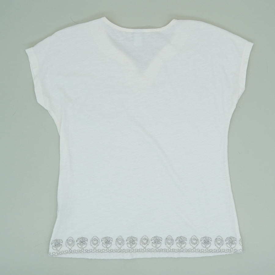Ivory Embroidery Trimmed Blouse - Size M