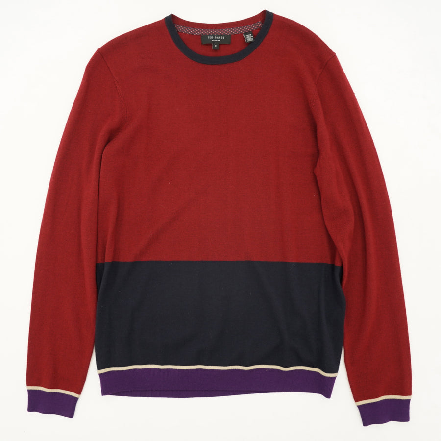 Burgundy and Navy Crew Neck Sweater Size M